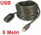 Prolunga USB maschio femmina,5m.Cavo M/F usb 2.0 PC,5 metri.Mouse,tastiera,ec