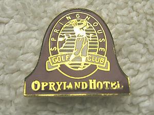 "VINTAGE SPRINGHOUSE GOLF CLUB OPRYLAND HOTEL 3/4"" METAL & ENAMEL LAPEL HAT PIN"