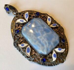 vintage semi precious stone blue agate Necklace pendant art deco oval enamel jewelry