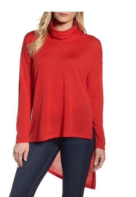 Eileen Fisher Lava Red Asymmetrical Hi-Lo Merino Wool Sweater S, L