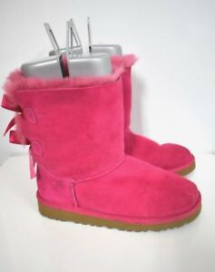8ab4a5df637 UGG Australia Kids Bailey Bow (big kid/youth) pink Suede Ankle Boots ...