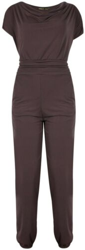 Womens Long Stretch Plus Size Cap Sleeve Mocha Color Cowl Neck Jumpsuit 14-28