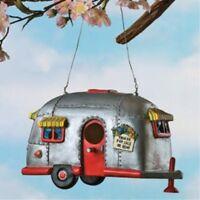 Camper Birdhouse Trailer Bird House Airstream Style Rv Home Decor Yard Garden on sale