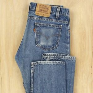 vtg-usa-made-LEVI-039-s-505-jeans-34-x-33-tag-faded-blue-orange-tab-distressed