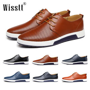 Mens-Casual-Leather-Shoes-Sneakers-Oxford-Breathable-Lace-up-Trendy-Summer-Shoes