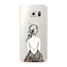 Coque gel souple incassable motif fantaisie pour Galaxy S6 EDGE  (Dos de fille)