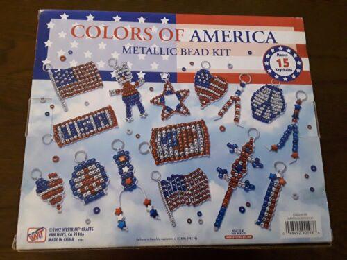 DYI Metallic Bead Kit Makes 15 Keychains Beading AMERICAN PRIDE USA Kid Crafts