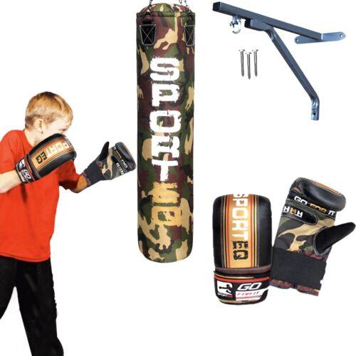 Sporteq 3ft Kids Punch Bag Gloves Hanging Bags Junior Children Mitts Bracket Set