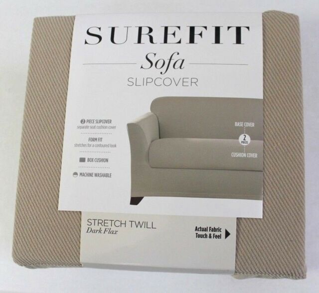 Sure Fit Stretch Twill Dark Flax 2 Pc Sofa Slipcover Separate Seat Cushion  Cover