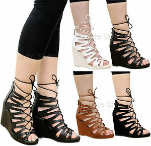 87f30352691d Ladies Womens Lace Up High Wedge Heels Ankle Strap Gladiator ...