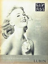PUBLICITE ADVERTISING 125  1960  Lubin eau de toilette Gin Fizz
