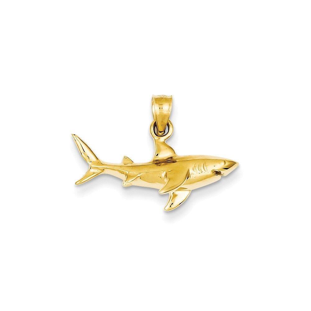 Genuine 14k Yellow gold Shark Pendant 18x24mm 1.49 gr REAL gold