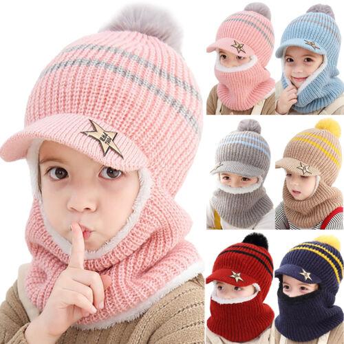 Toddler Kids Boys Girls Winter Knitted Fleece Beanie Ski Hat Ear Flap Scarf Cap