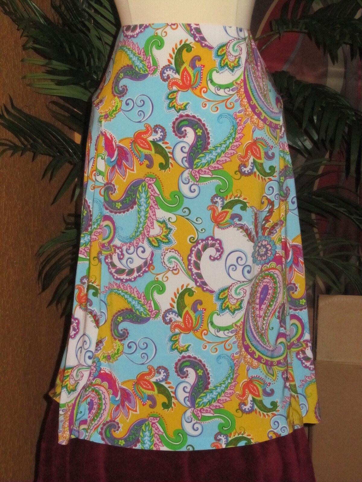 RALPH LAUREN NWT  109 2X women's skirt turquoise paisley summer disco
