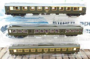 PIKO-96658-97609-97603-2-H0-Set-3x-Personenwagen-SCHNELLZUGWAGEN-PKP-Epoche-4-5