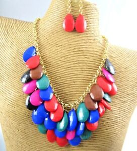 Multi-Colored-Beads-Fashion-Necklace-Earrings-Costume-Women-Jewelry