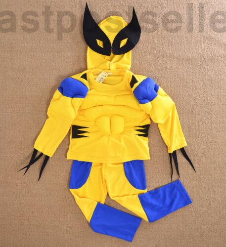 2-7 Boys Kids Wolvrine 3pc Muscle Costume Set Halloween Fancy Party Dress Set