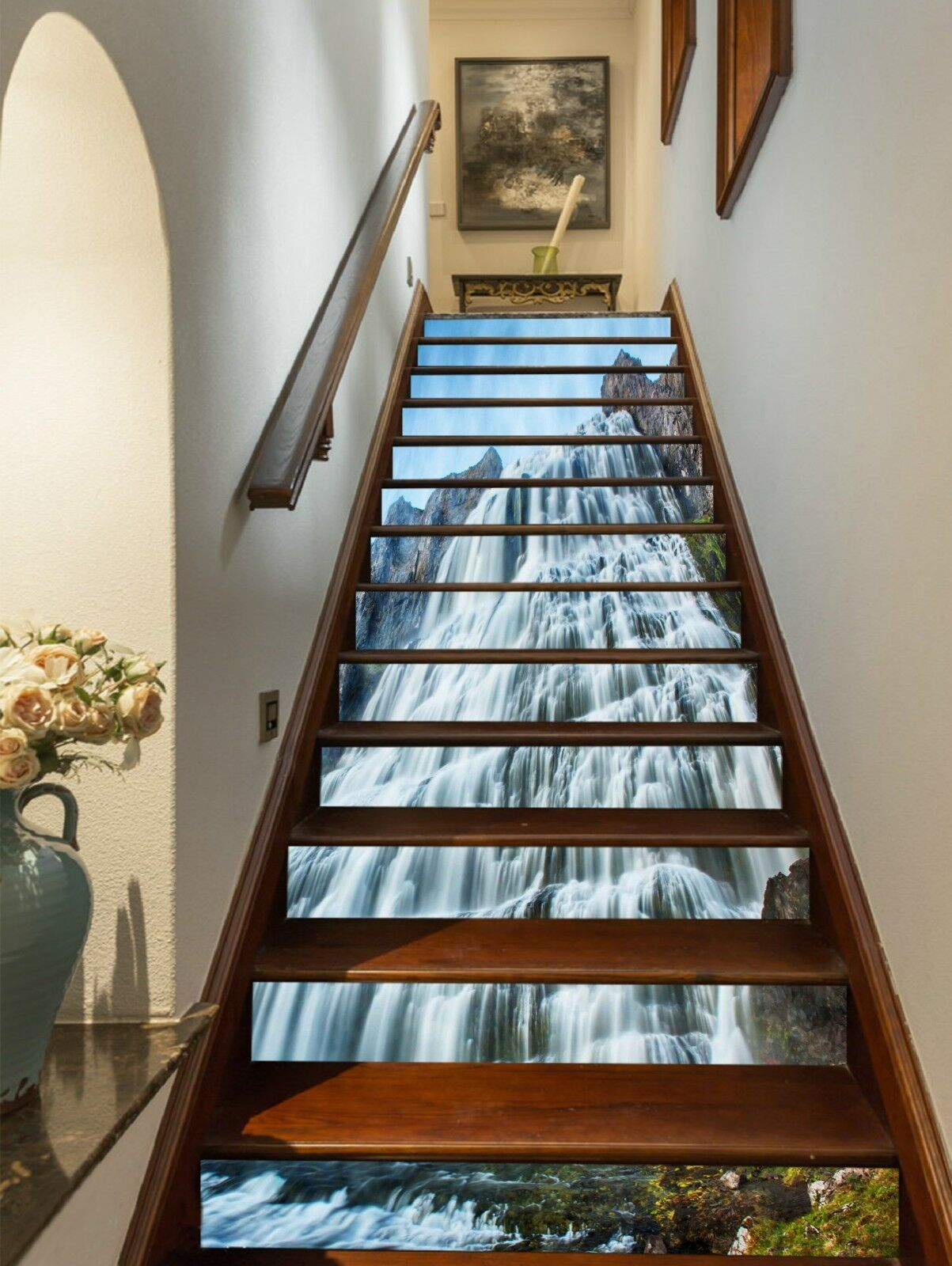 3D Wasserfall 2413 Stair Risers Dekoration Fototapete Vinyl Aufkleber Tapete DE
