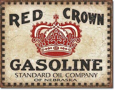 Red Crown Gasoline Standard Oil TIN SIGN metal poster vtg garage wall decor 2074