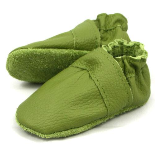 Baby Hausschuhe Lederpuschen Krabbelschuhe grün JACOB/'S UNI NEU 18-23