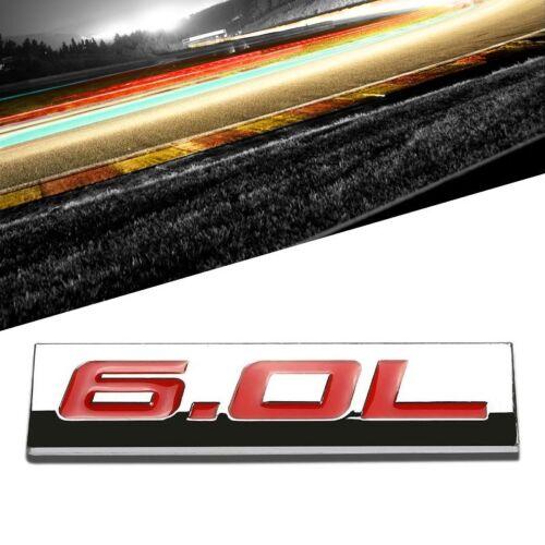 Red//Chrome 6.0L Sign Trim Car Rear Trunk Polished Sticker Badge Decal Emblem