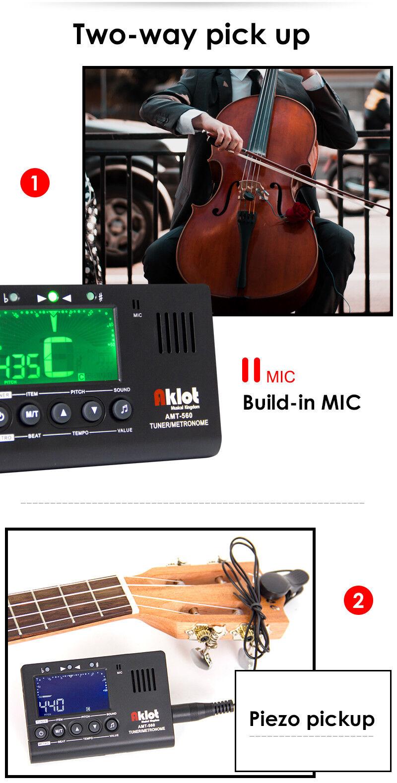 amt 560 electric guitar tuner metronome pickup built in mic for guitar ukulele 634458768306 ebay. Black Bedroom Furniture Sets. Home Design Ideas