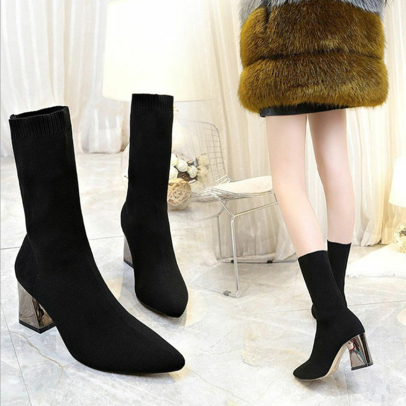Women Sock Boot Mid Calf Knitted Elastic Slim Block High Heel shoes Pointed Toe