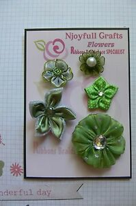 HANDMADE-5-Flowers-with-Centres-OLIVE-GREEN-Organza-Satin-25-50mm-NjoyfullCrafts