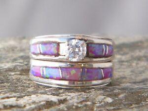 Image Is Loading Native American Indian Navajo Wedding Rings Band Pink