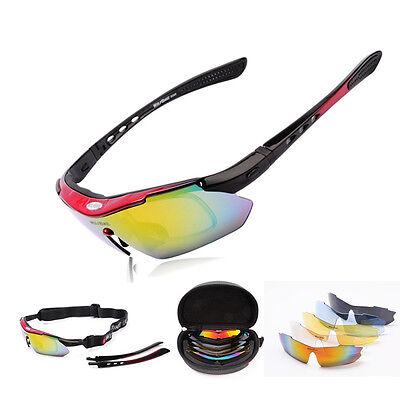 Bicycle Bike Cycling Riding Sun Glasses UV 400 Ski Sports Eyewear Goggle 5 Lens