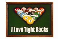 Ram R940 Wooden Billiard I Love Tight Racks Pub Sign 3d Art W/ Free Shipping