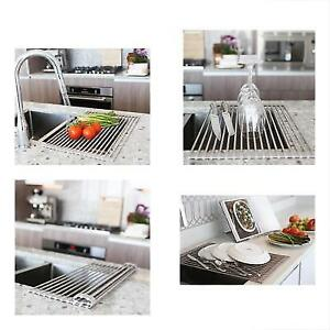 Roll Up Dish Drying Rack by MagnaLecta - Over the Sink Silicone Coated  Stainless