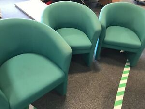 Green-fabric-tub-office-chair-armchair-bundle-used-for-reupholstering-x6