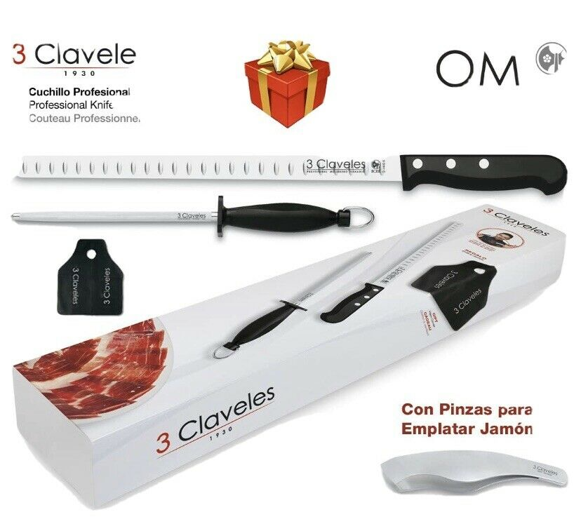 Set Cuchillo Jamon 3 Claveles Flexible , Pinza Y Chaira + Cubre...