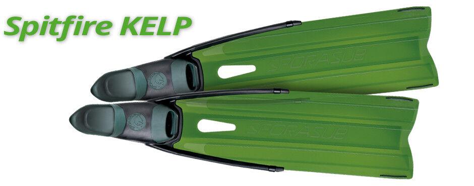 Palmes Spitfire Kelp vert Transparent 41 42 Sporasub Pêche Apnée Spatule Longue