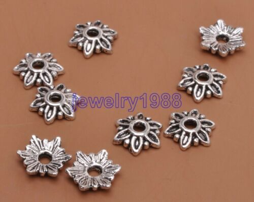 50pcs Tibetan Silver Charm Flower Beads End Caps Findings Bead Caps 7x2mm F3062
