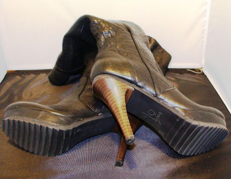 BACIO61 RIMA WOMEN'S FASHION BLACK SOFT LEATHER KNEE BOOTS SIZE 7-M