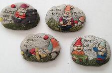 Set of 4  Colourful Decorative Concrete Garden Gnome Pebbles Each one Different