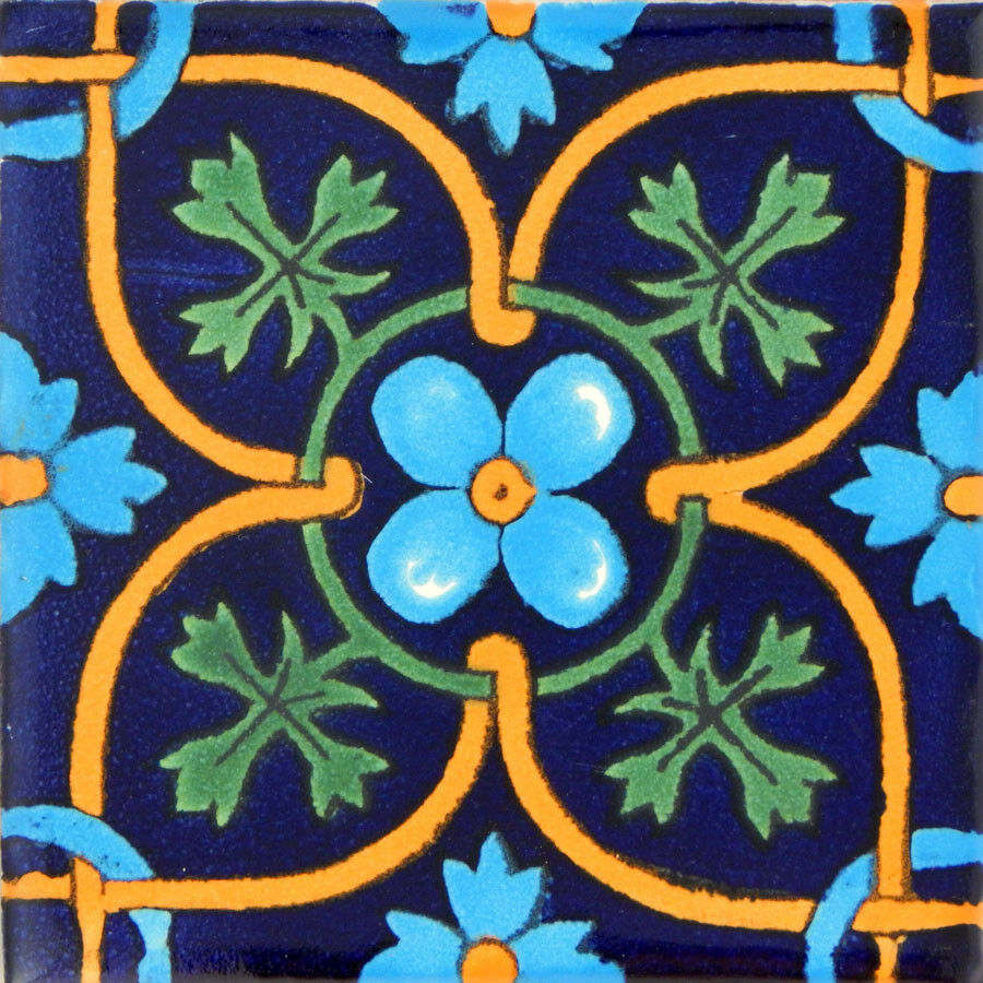 100 Mexican Talavera Decorative Handmade Tiles Folk Art C354