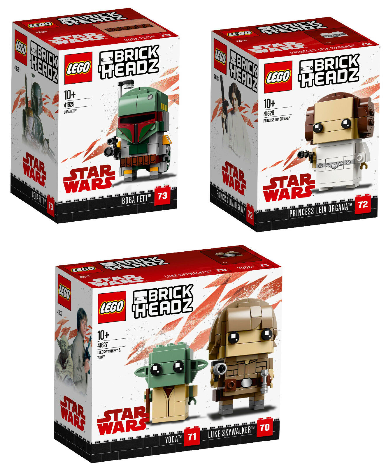 LEGO® BrickHeadz™ Star Wars™ 41627 Luke Skywalker™ & Yoda™ & 41628 & 41629