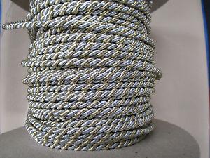 6 M Cordon Or/argent 5 Mm Diamètre Bricolage Coudre Tapisser Meubles Coussin Deco-afficher Le Titre D'origine