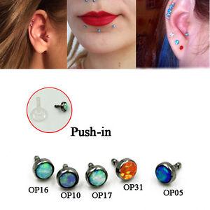 Details About 1 Soft Push Fit Opal Round Bioflex Piercing Helix Earring Tragus Bar Labret Stud