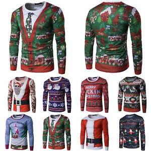 para-hombre-de-Navidad-3d-Estampado-Camiseta-Manga-Larga-Informal-Sueter