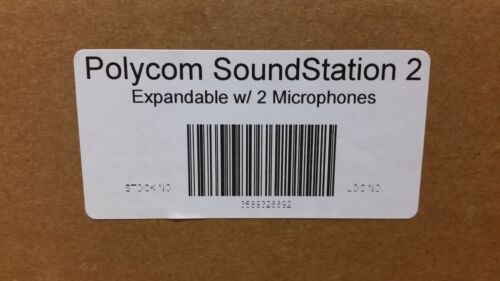2 Microphones New Polycom SoundStation 2 Expandable Conference Phone w// Power