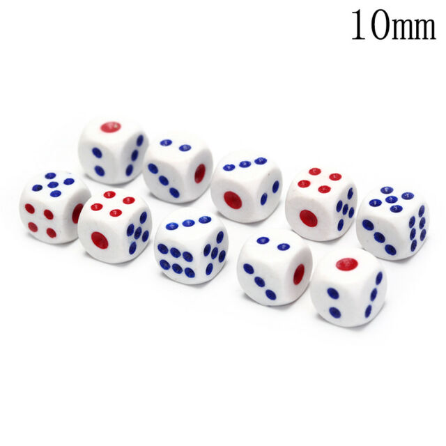 10Pcs Six Sided Square Opaque 10mm D6 Dice Portable Table Games Tool c Yg T ce