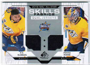 competitive price 70677 654fd Details about 18/19 SP GAME USED SUBBAN PEKKA RINNE ALL-STAR DUAL JERSEY  NASHVILLE PREDATORS