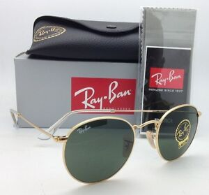 ray ban gold round g15 sunglasses  image is loading new ray ban sunglasses round metal rb 3447