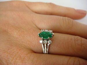 14k White Gold Emerald Amp Diamonds Vintage Ladies Ring 4 5