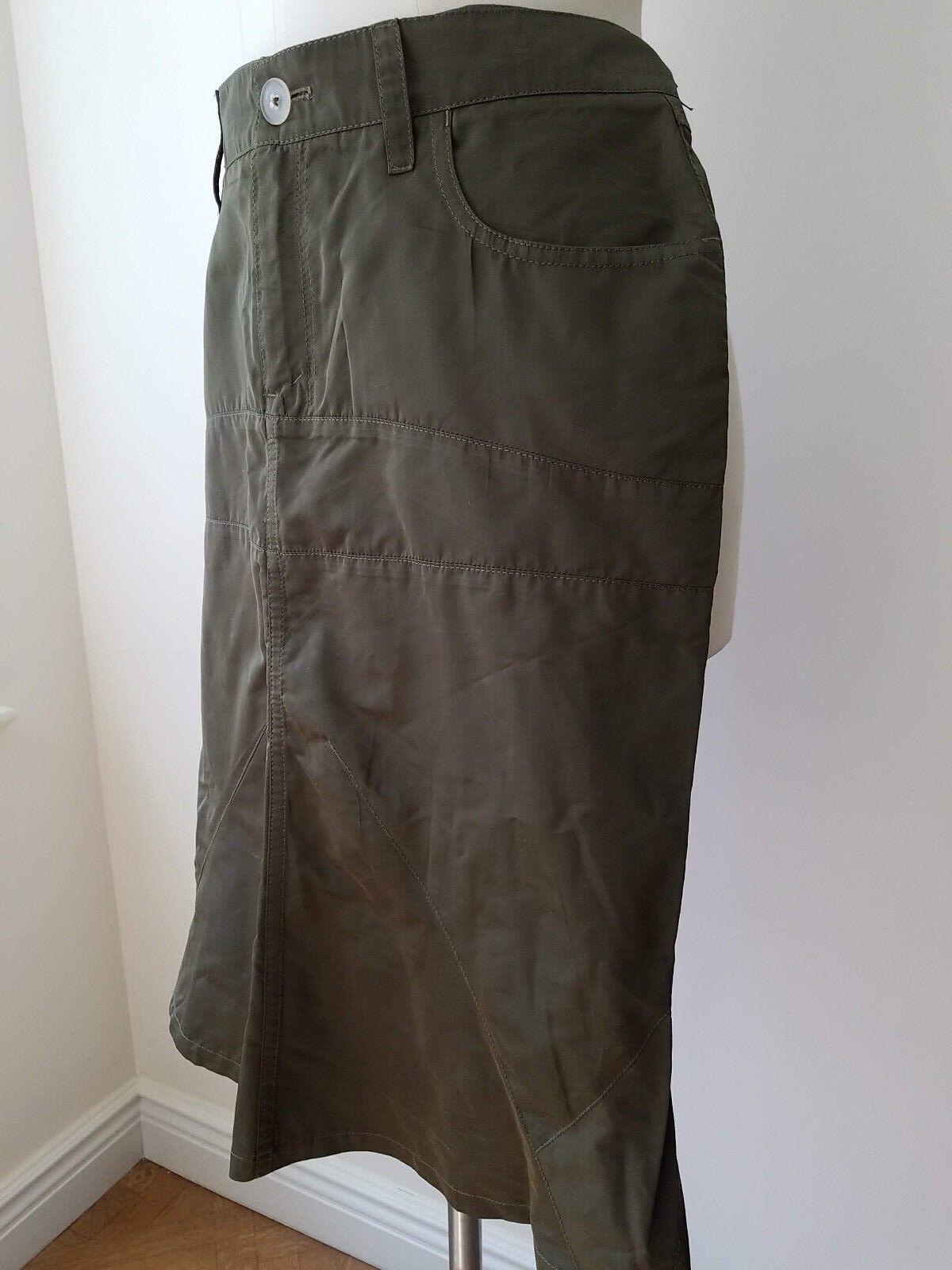 Jil Sander Dark Khaki-Green Polyester & Silk Skirt Sz. 40 (8)