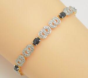 Saphir-Armband-Saphire-925-Silber-Vergoldet-Sterlingsilber